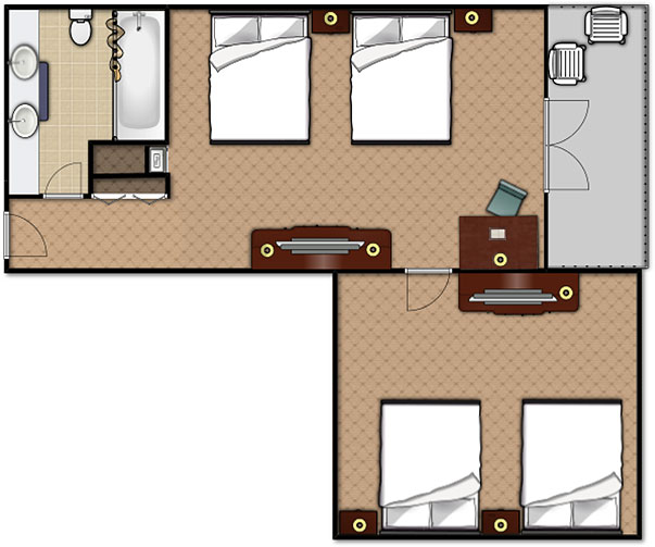 Floorplan of the 2 Bedroom Queen Suite at the Music Road Hotel