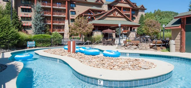 View Of The Lazy River In Front Bearskin Lodge On Gatlinburg