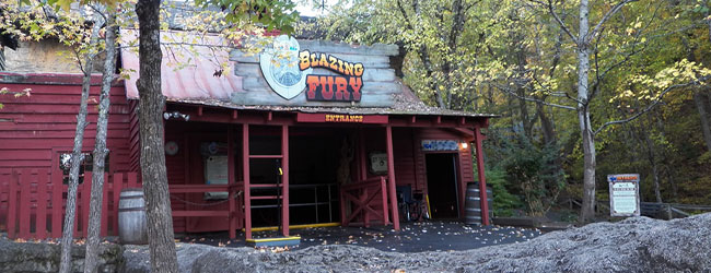 View of the Blazing Fury Entrance to the Indoor Roller Coaster in Dollywood wide