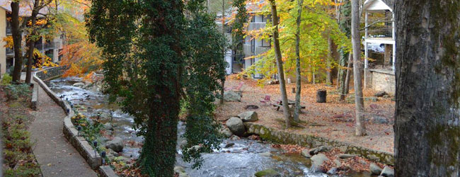 View of the River side from the Brookside Resort in Gatlinburg Wide