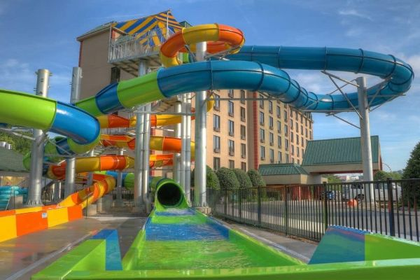 View of the splash zone at one of the Water Slides at the Water Park at Country Cascades in Pigeon Forge 600
