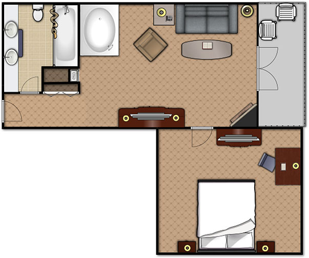Floorplan of the Executive Suite at the Music Road Hotel