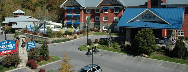 Location of the Outdoor Swimming Pool and Water Slide at the Fairfield Inn and Suites in Gatlinburg wide