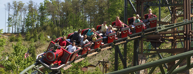 Take a look at the families enjoying the youth roller coaster FireChaser Express in Dollywood wide