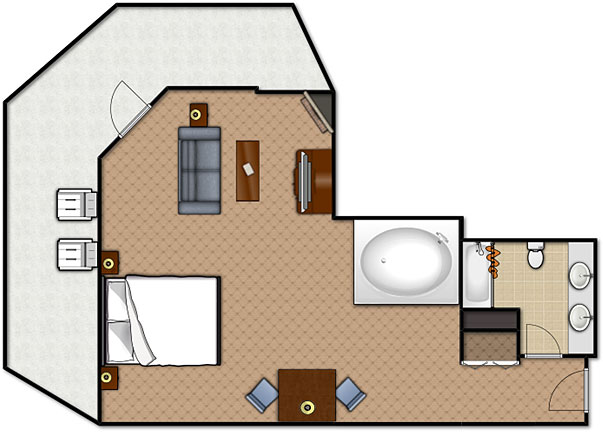 Floorplan of the Honeymoon Suite at the Music Road Hotel