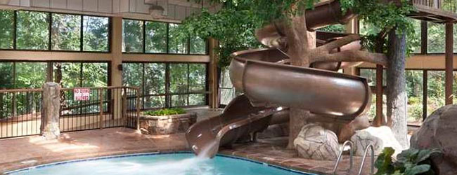 View of one of the water slides at the Park Vista in Gatlinburg Indoor Pool wide