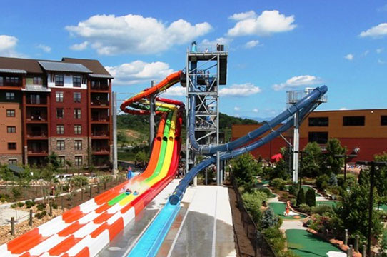 Take the plunge down 66 feet and near vertical loop on the Wild Vortex Wilderness at the Smokies Outdoor Waterpark