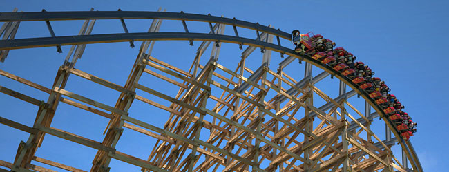 The Lightning Rod Wooden Roller Coaster coming through a bank, 90 degree turn at Dollywood wide