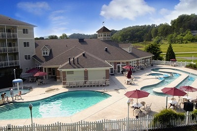 View Of The Pool And Lazy River At Mainstay Suites In Pigeon Forge