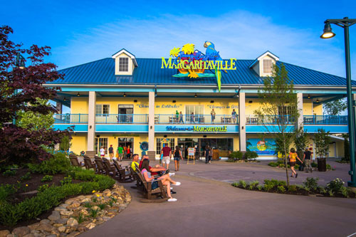 View of the front of the Margaritaville Restaurant in Pigeon Forge