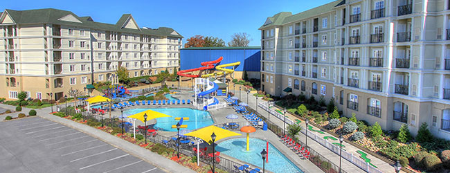 View of the Water Park with Water Slides and Lazy River at the Resort at  GovernorsHotels near Tanger Outlet Pigeon Forge Tn. 2 Bedroom Suite Hotels In Pigeon Forge Tn. Home Design Ideas