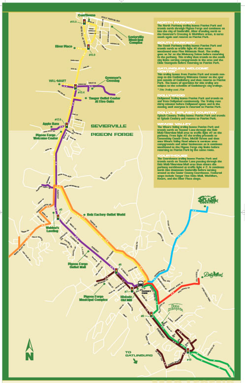 Full Downloadable PDF of the Pigeon Forge Trolley Map