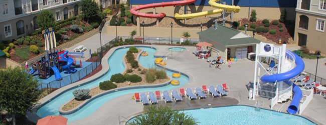 View of the Outdoor Water Play area at Governors Crossing Resort with Lazy River, 1 Outdoor and 2 Indoor Water Slides wide