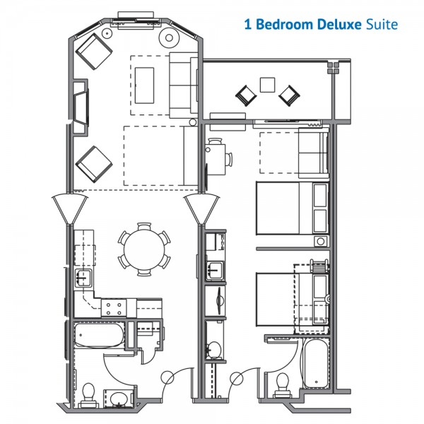 Floorplan of the 1 Bedroom Deluxe Suite at the Wilderness at the Smokies Resort River Lodge