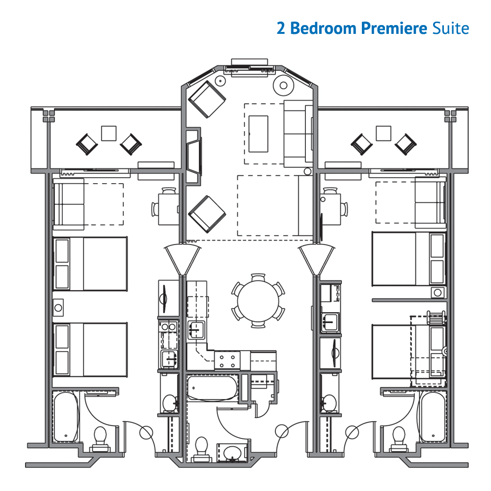 Floorplan of the 2 Bedroom Premier Suite at the River Lodge