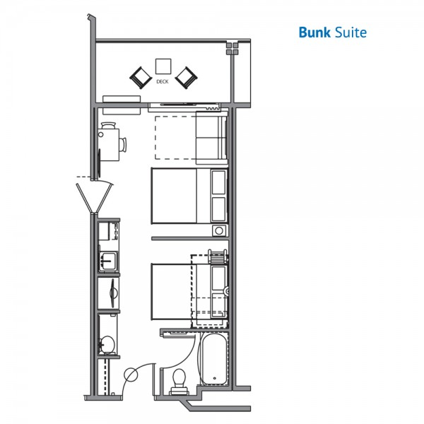 Floorplan of the Bunk Suite at the River Lodge Wilderness at the Smokies Resort