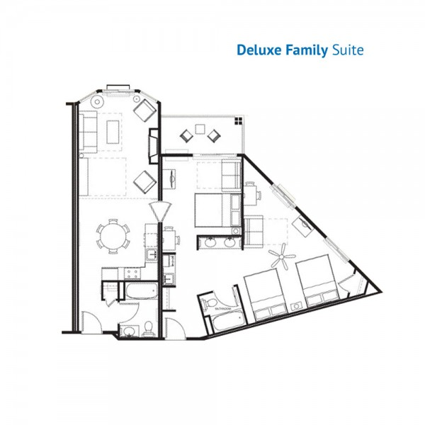 Floorplan of the Deluxe Family Suite at the River Lodge
