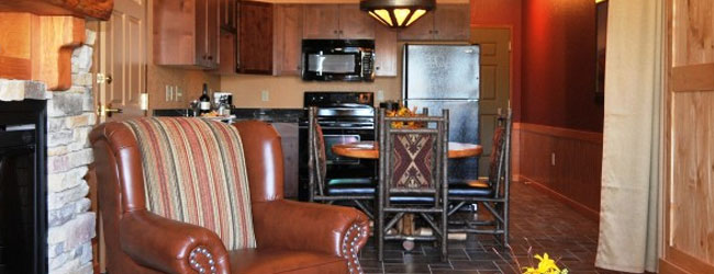View of the River Lodge Family Suite Living Space and Kitchen at the Wilderness at the Smokies Resort Wide