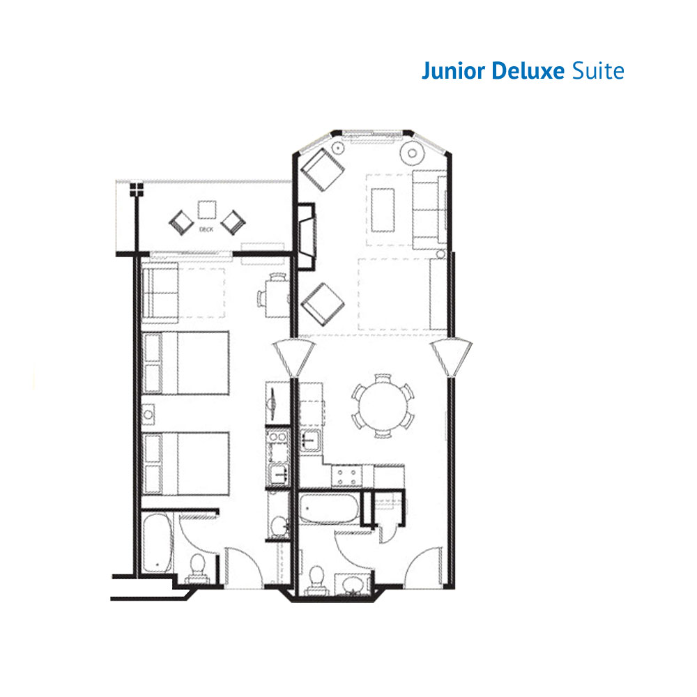Floorplan of the Junior Deluxe Suite at the Wilderness at the Smokies Resort River Lodge