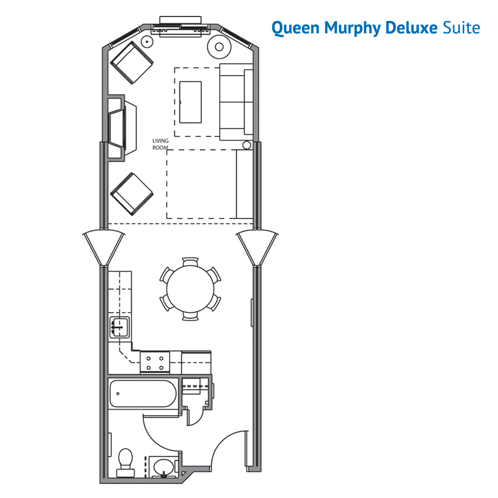 Floorplan of the Queen Murphy Bed Suite at the Wilderness at the Smokies Resort River Lodge