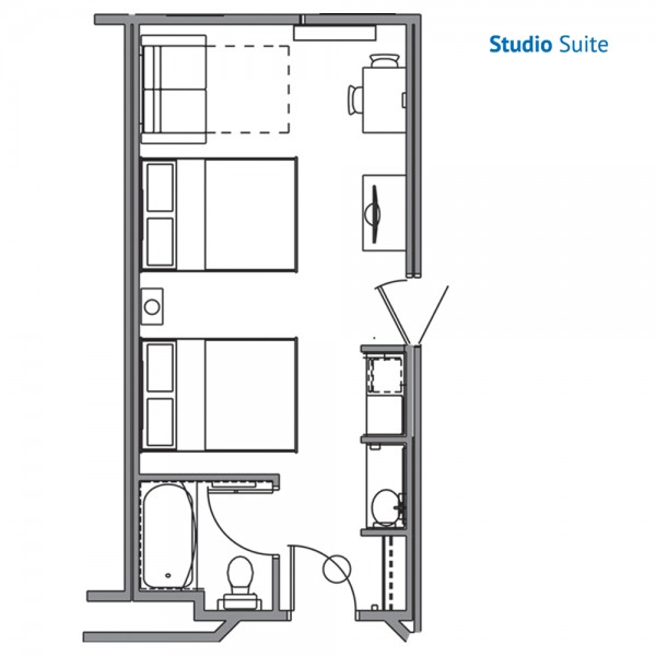 Floorplan of the Studio Suite at the River Lodge Wilderness at the Smokies Resort