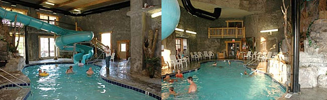 View Of The Large Indoor Pool With Water Slide At Riverchase Motel In Pigeon Forge