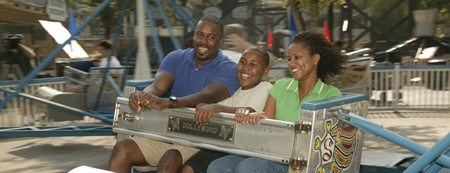 Family having a great time on the Scrambler at Dollywood wide