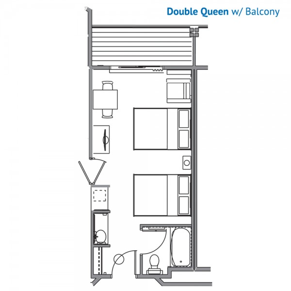 Floorplan of the Double Queen Room with Balcony at the Stone Hill Lodge