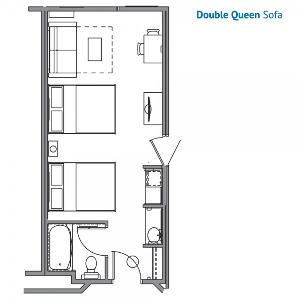 Floorplan of the Double Queen Sofa Room at the Stone Hill Lodge