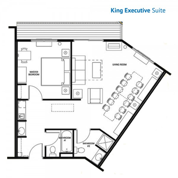 Floorplan of the King Executive Suite with Sleeper Sofa, Balcony at the Stone Hill Lodge
