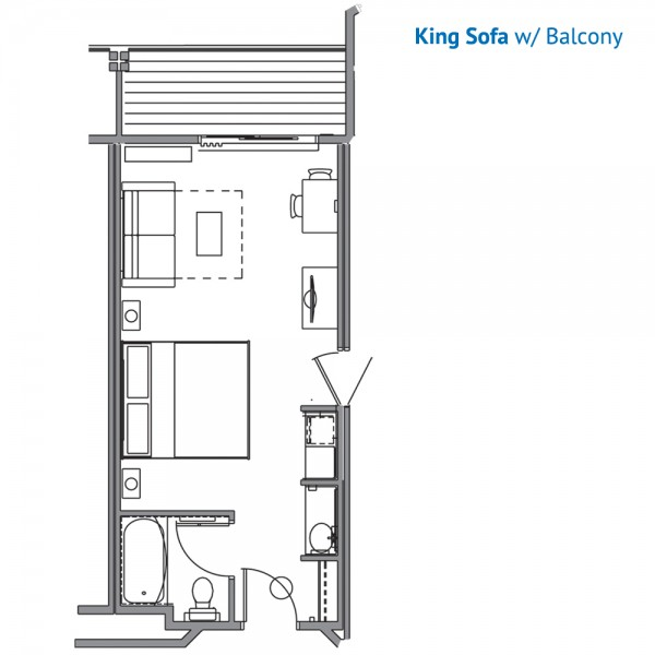 Floorplan of the King Room with Sleeper Sofa and a Balconey at the Stone Hill Lodge