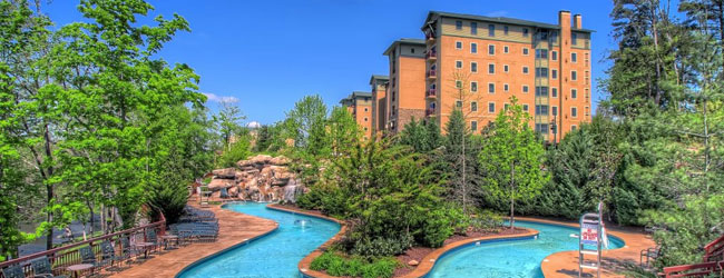 View of the Lazy River at the Riverstone Resort in Pigeon Forge Wide
