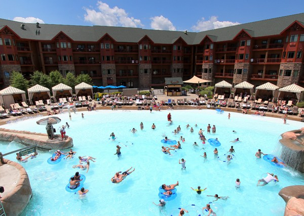 View of the full Wave Pool at the Outdoor Wilderness at the Smokies Lodge