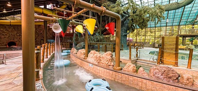 Wild Bear Falls Indoor Water Park with large lazy river and Water Slides